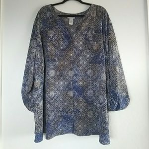 NWT CATHERINES Button Down Blouse Size 5X (34/36W)